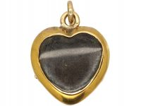 Georgian 15ct Three Colour Gold & Diamond, Heart Shaped Pendant with Glazed Locket on Reverse