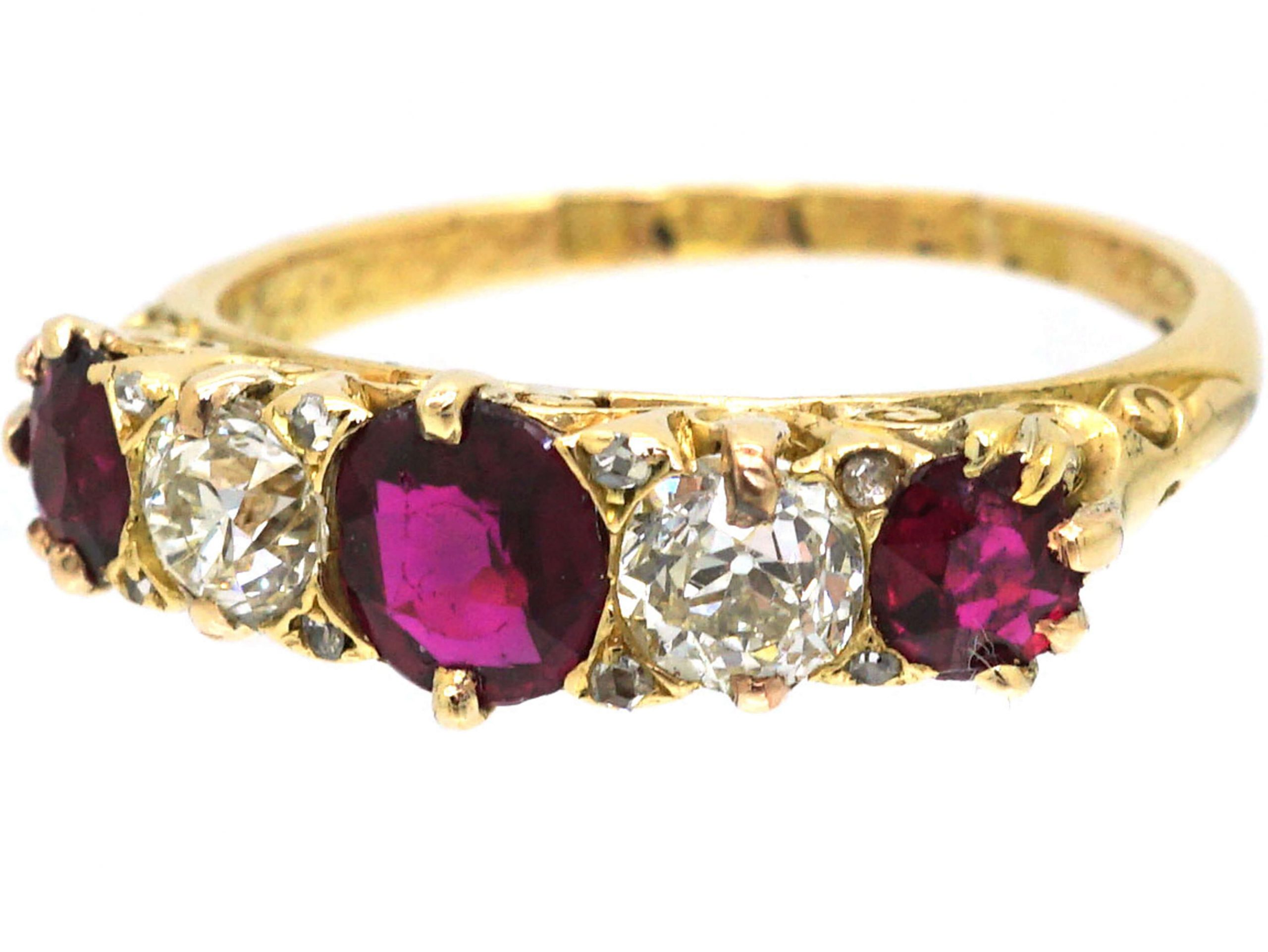 Victorian 18ct Gold, Ruby & Diamond Five Stone Ring