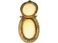 Edwardian 9ct Gold Oval Locket with Engraved Detail