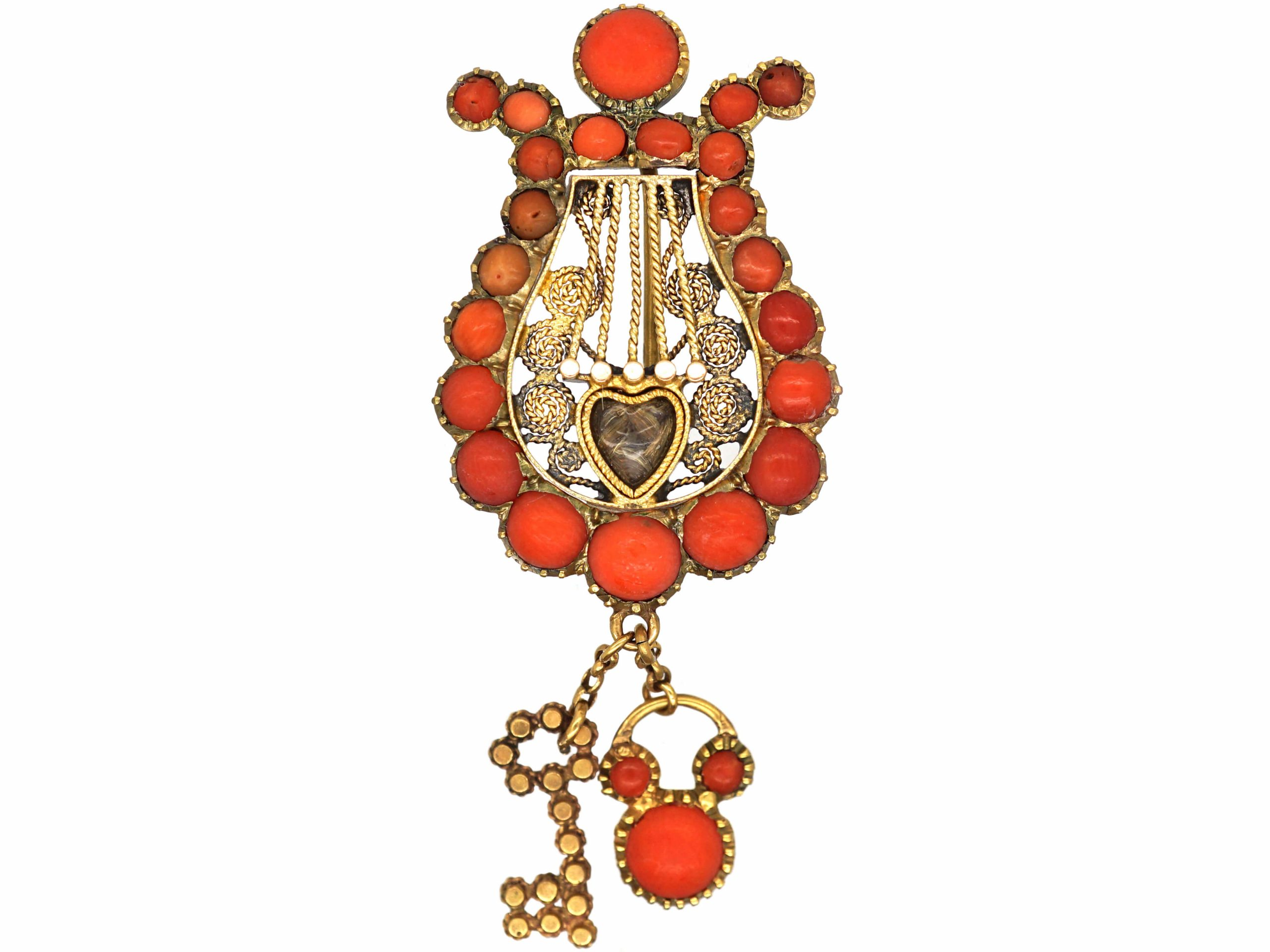 Georgian 9ct Gold & Coral Lyre Brooch with Lock & Key