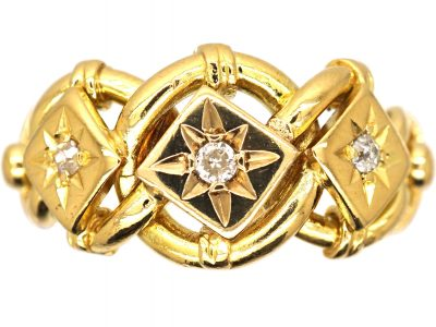 Edwardian 18ct Gold Triple Knot Ring set with Three Diamonds