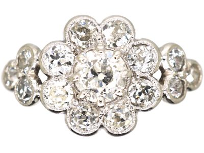 Edwardian 18ct White Gold, Diamond Daisy Cluster Ring with Triple Diamond Set Shoulders
