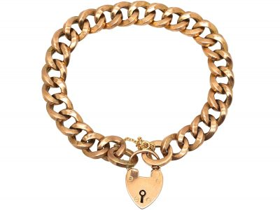 9ct Yellow Gold Curb Link Padlock Bracelet with Safety Chain, by Lawson, Ward & Gammage Ltd of Hatton Garden.
