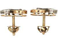 Pair of Early 20th Century Diamond and Demantoid Garnet Ear Studs, retailed by David-Andersen