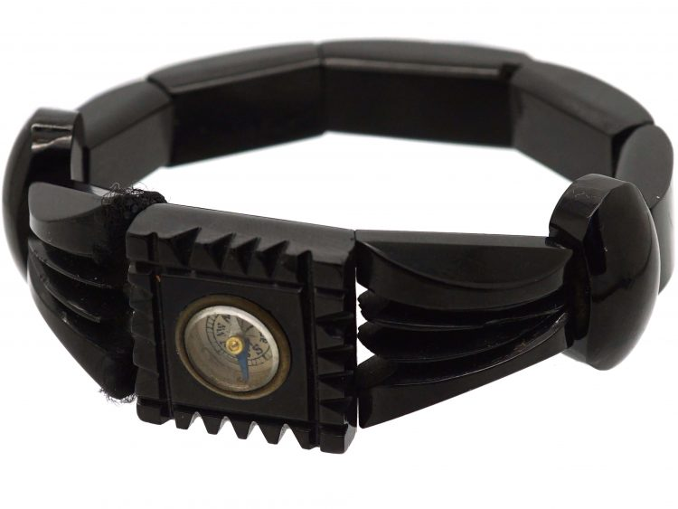 Victorian Whitby Jet Bracelet with Compass set in to the Centre