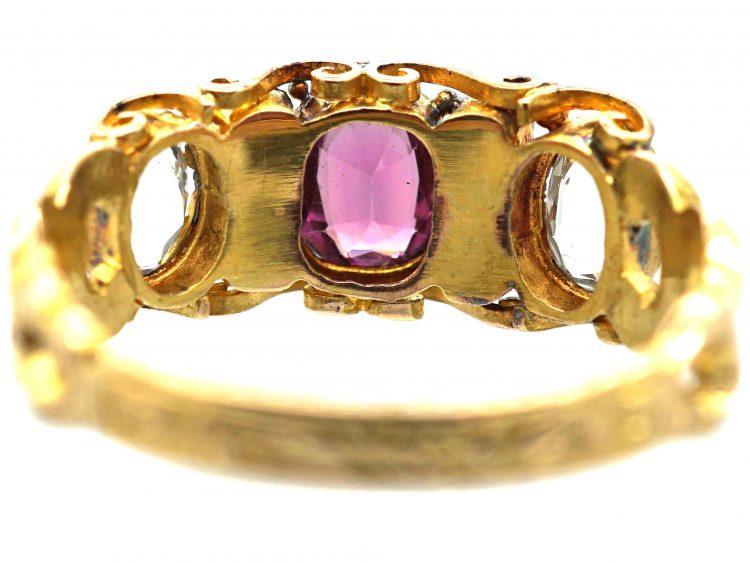 Regency 15ct Gold, Garnet, Green Beryl, Aquamarine and Paste Ring