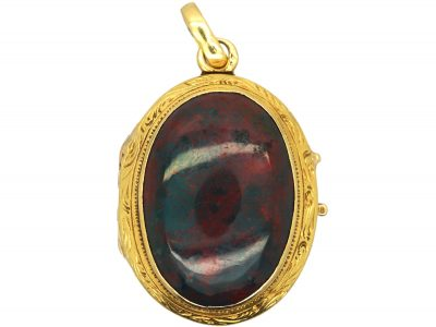 French 19th Century 18ct Gold Oval Shaped Locket set with Bloodstone on Both Sides