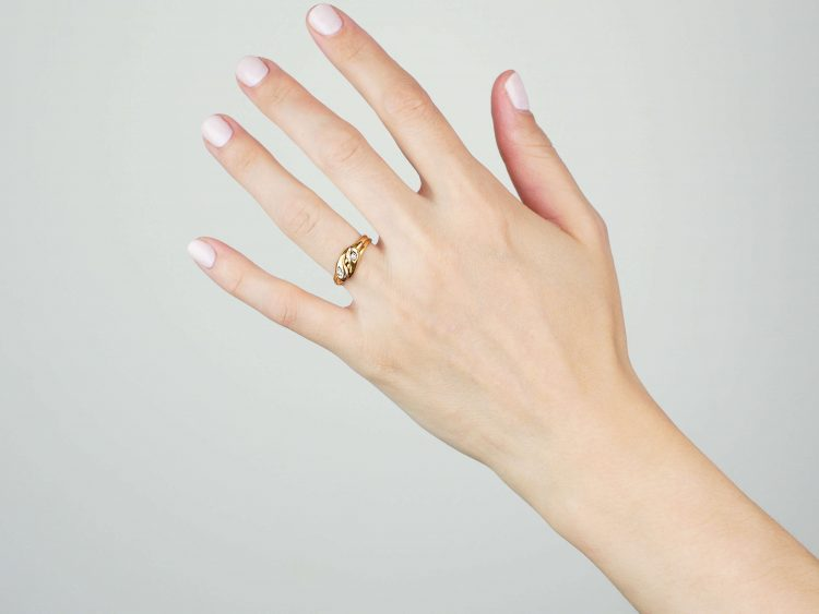 Victorian 15ct Gold Double Snake Ring set with Diamonds