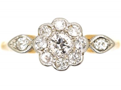 Edwardian 18ct Gold and Platinum, Diamond Cluster Ring with Diamond Set Shoulders