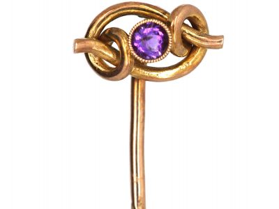 Edwardian 9ct Gold Coiled Knot Tie Pin set with an Amethyst