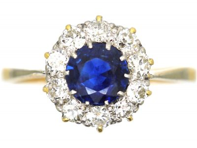 Edwardian 18ct Gold and Platinum, Sapphire and Diamond Cluster Ring