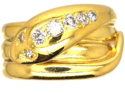 Victorian 18ct Gold Snake Ring set with Diamonds