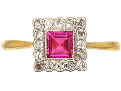 Art Deco 18ct Gold & Platinum, Ruby & Diamond Square Ring