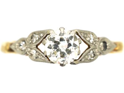 Art Deco 18ct Gold and Platinum, Diamond Solitaire Ring with Diamond Set Leaf Shoulders