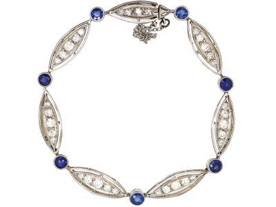 French Art Deco Platinum, Sapphire and Diamond Bracelet