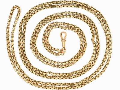 Victorian 9ct Gold Long Guard Chain with Dog Clip