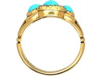Victorian 18ct Gold, Three Stone Turquoise and Rose Diamond Ring
