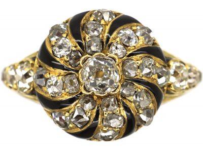 Victorian 18ct gold, Diamond and Black Enamel Memorial Ring