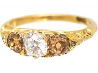 Victorian 18ct Gold, Three Stone Diamond Ring