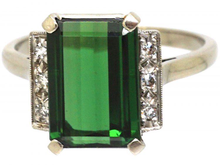 Art Deco 18ct White Gold, Green Tourmaline & Diamond Ring