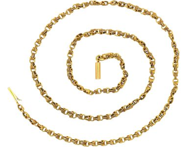 Edwardian 15ct Gold Ornate Chain with Barrel Clasp