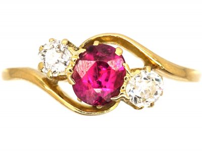 1930's 18ct Gold, Ruby and Diamond Cross Over Ring