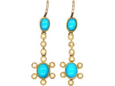 Edwardian 15ct Gold, Turquoise & Natural Split Pearl Drop Cluster Earrings