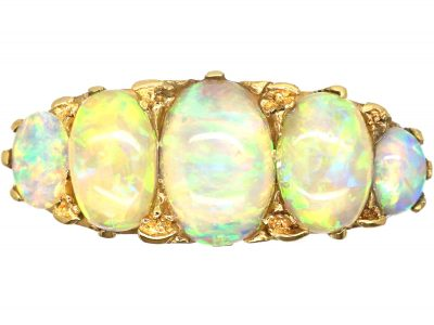 Edwardian 18ct gold and Five Stone Precious Opal Ring