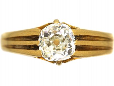Victorian 18ct Gold Solitaire Diamond Ring