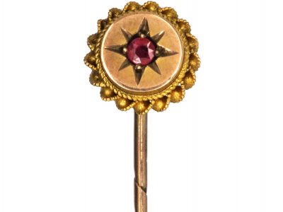 Victorian 9ct Gold & Ruby Tie Pin with Scalloped Edge