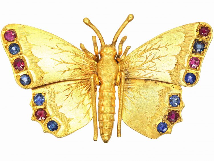 Edwardian 15ct Gold Butterfly Brooch set with Rubies & Sapphires