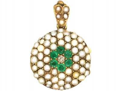 15ct Gold Double Sided Round Locket set with Pearls, Emeralds & Diamonds