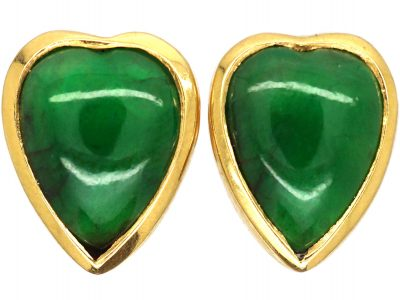 French 18ct Gold Heart Shaped Earrings set with Jadeite