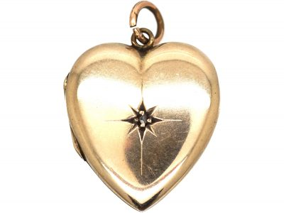 Edwardian 9ct Gold Back & Front Heart Shaped Locket set with a Diamond