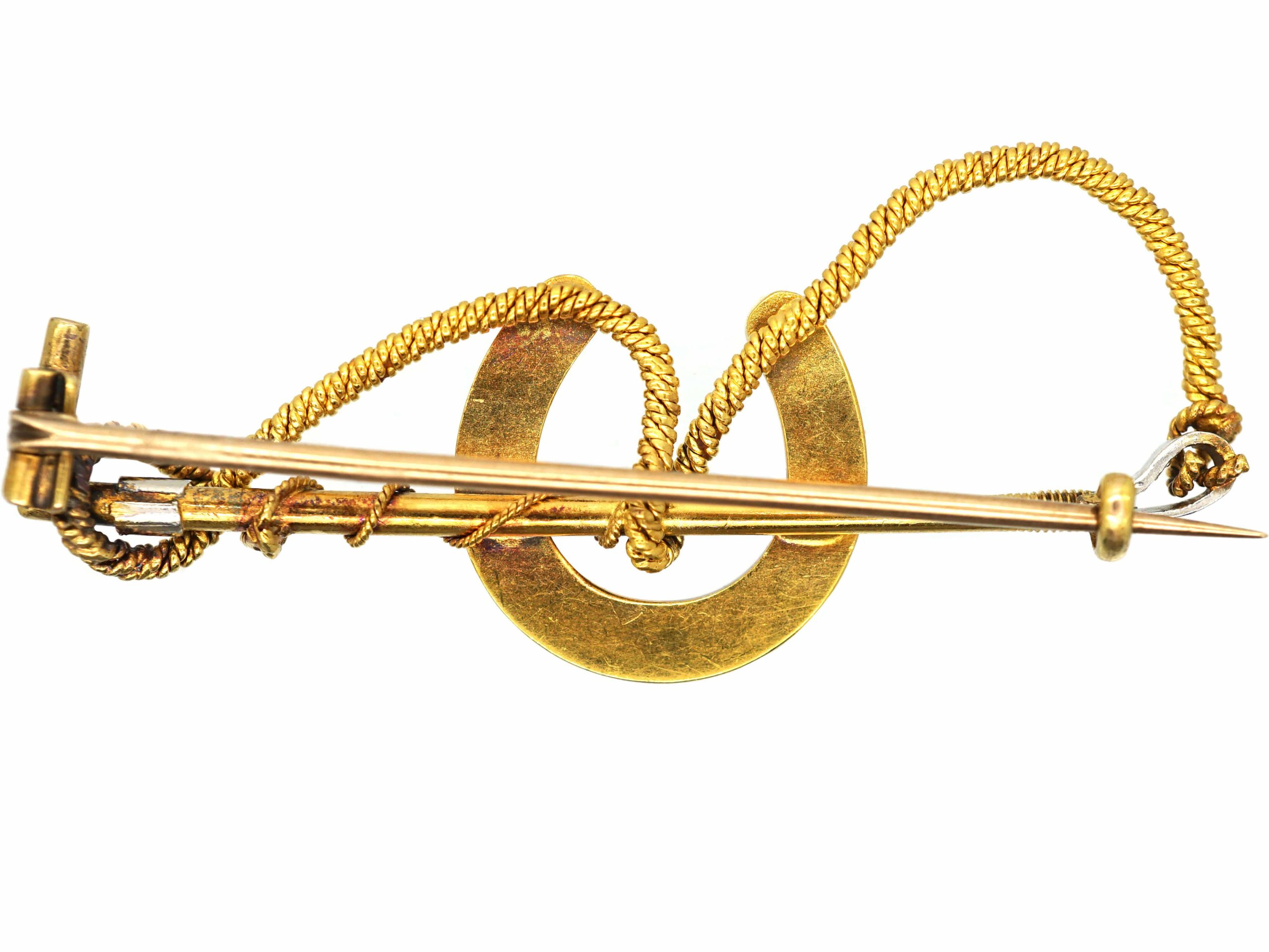 Edwardian 18ct Gold & Platinum, Riding Crop & Horseshoe Brooch set with Natural Split Pearls