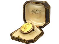 Art Nouveau 18ct Gold Brooch of a Lady set with Diamonds in Original Case