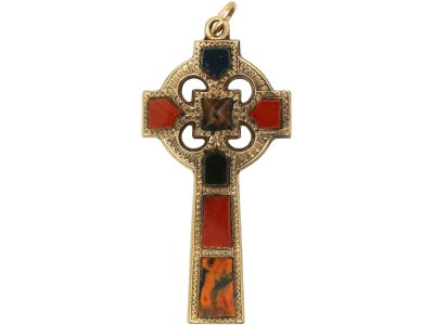 Victorian Gold Scottish Cross Pendant set with Bloodstone, Carnelian and Agate