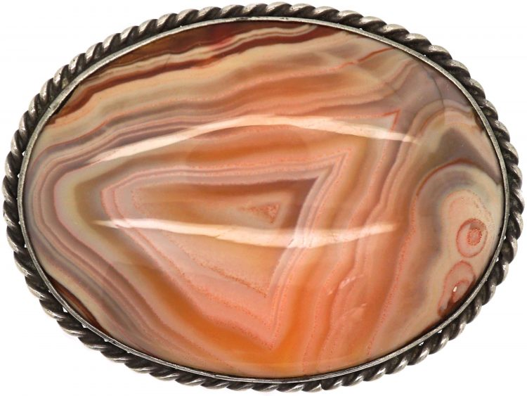Victorian Silver & Fortress Agate Brooch