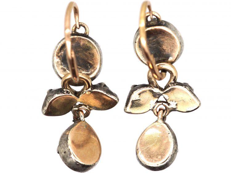 Georgian Rose Diamond Drop Earrings
