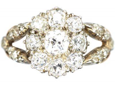 Georgian Diamond Cluster Ring with Split Diamond Set Shoulders