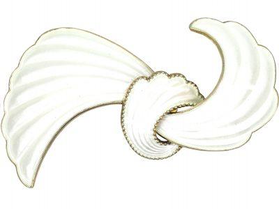 Norwegian Silver & White Enamel Bow Brooch by Elvic & Co