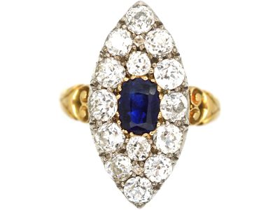 Victorian 18ct Gold, Large Sapphire and Diamond Marquise Shaped Ring
