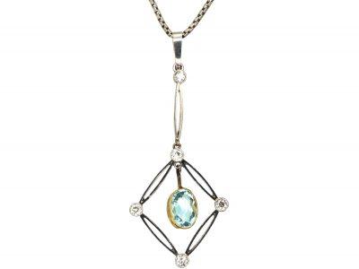 Art Deco 15ct Gold & Platinum Aquamarine & Diamond Drop Pendant on Chain in Original Case
