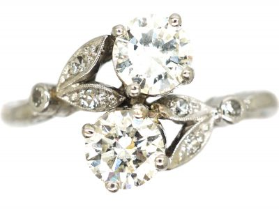 Edwardian Platinum, Two Stone Diamond Ring with Leaf Detail