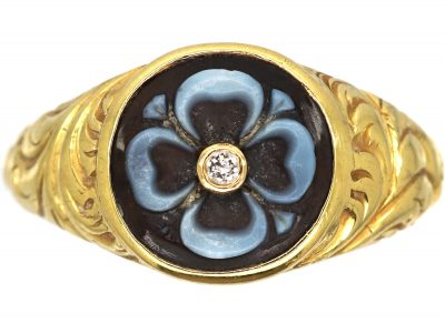 Early Victorian 18ct Gold Mourning Ring with Banded Sardonyx of a Flower