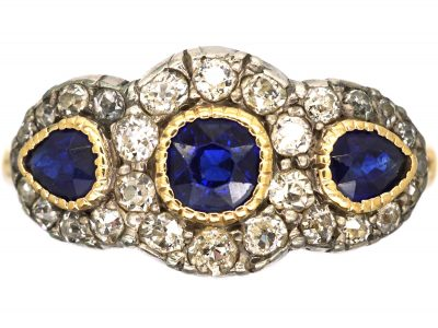 Victorian 18ct Gold, Sapphire and Diamond Triple Cluster Ring
