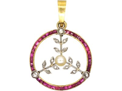 French Art Deco 18ct Gold and Platinum, Ruby, Natural Pearl and Rose Diamond Round Pendant with Floral Detail