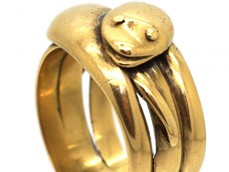 Edwardian 18ct Gold Double Snake Ring