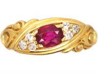 Edwardian 18ct Gold, Burma Ruby and Diamond Scroll Ring