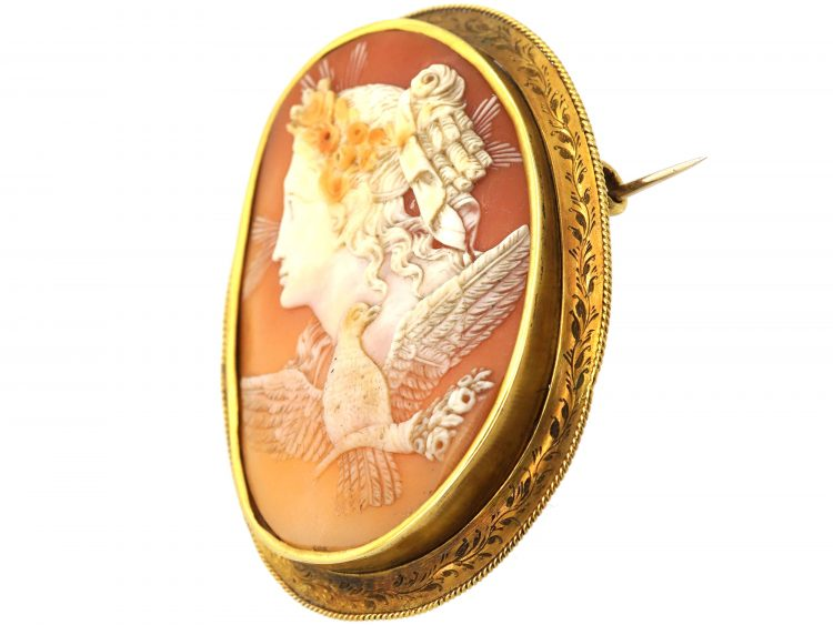 Victorian 15ct Gold Cameo Brooch of Eos, The Goddess of the Dawn